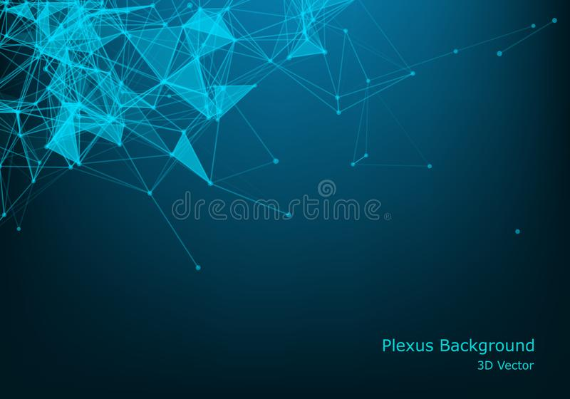 Abstract vector illuminated particles and lines. Plexus effect with spectrum colors. Futuristic vector illustration. Polygonal. Cyber Structure With Lens Flare vector illustration
