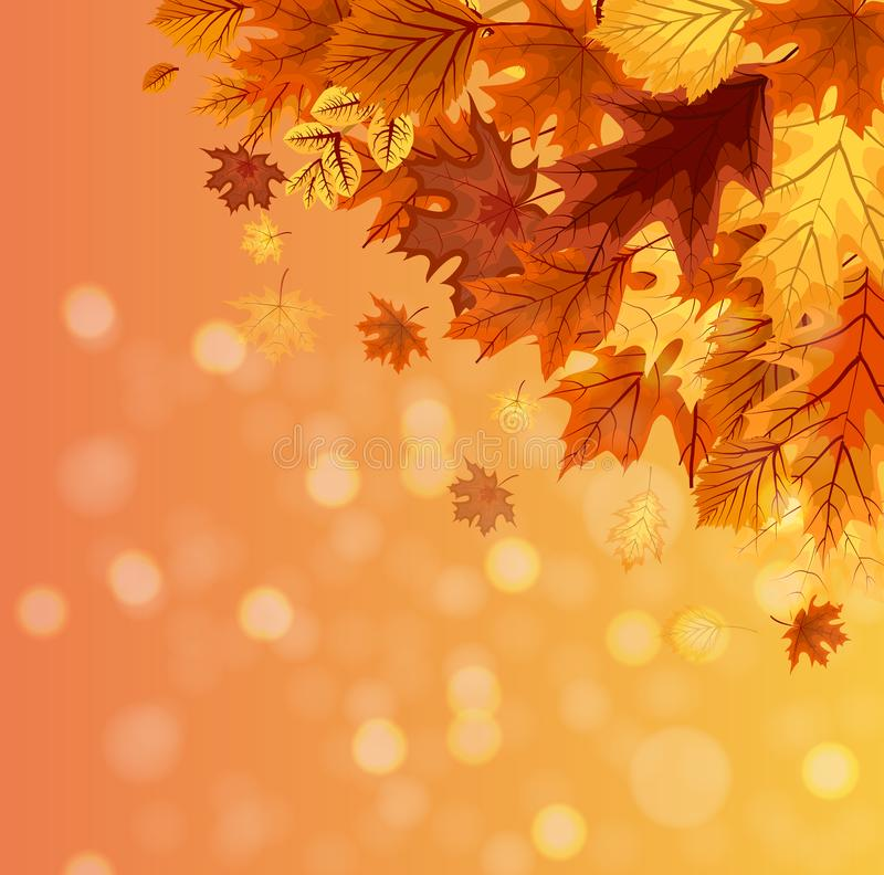 Abstract Vector Illustration Autumn Happy Thanksgiving Background with Falling Autumn Leaves. EPS10 royalty free illustration