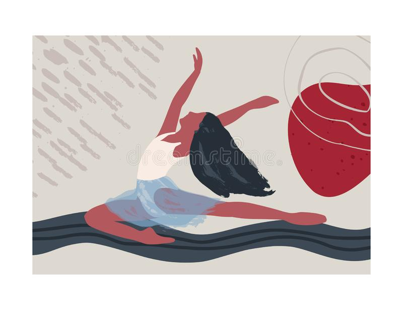 Abstract vector illustration. Ballet dancer girl poster. royalty free stock photos