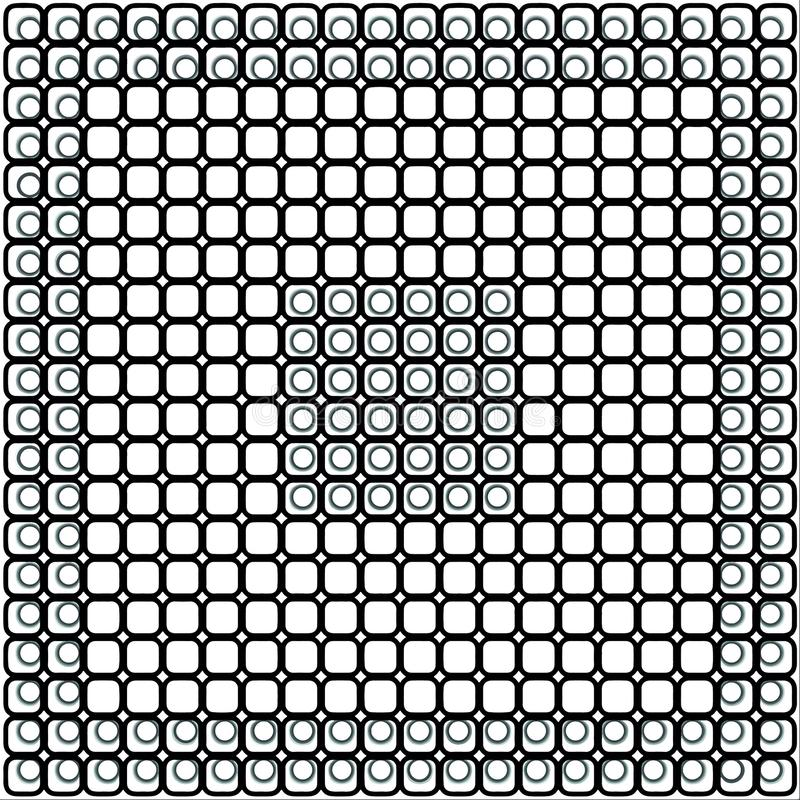 Black and white checkered pattern of squares and circles. royalty free illustration