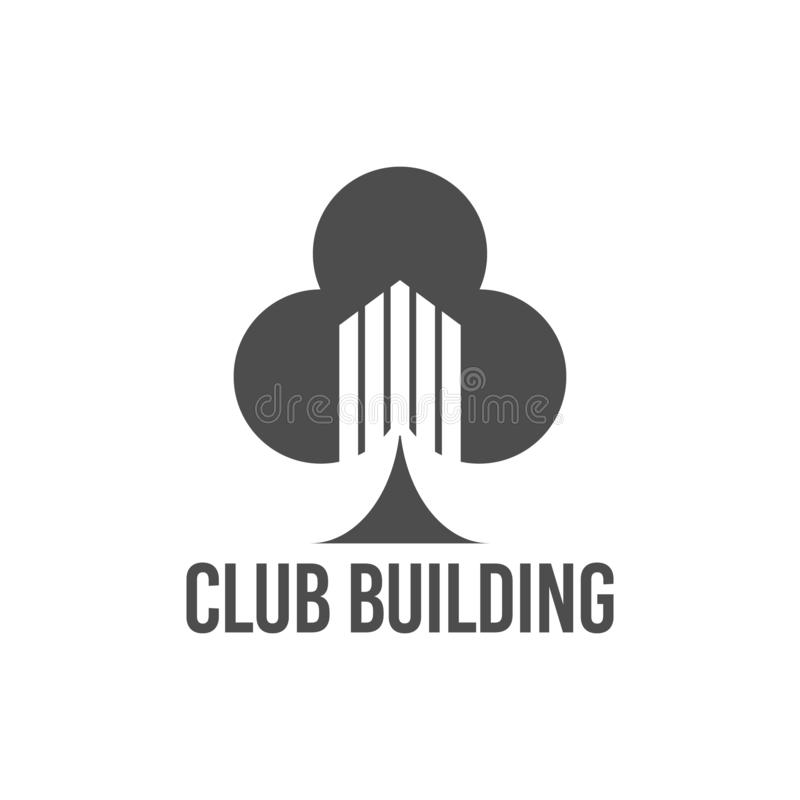 abstract vector illustration club tree building icon logo construction black color vector illustration