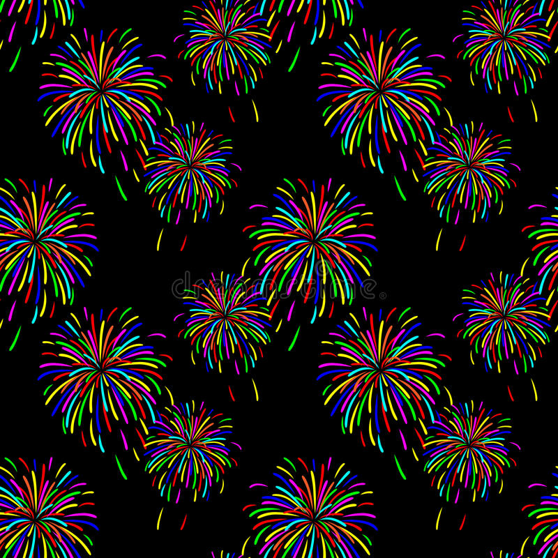 Abstract vector illustration of fireworks. In the sky royalty free illustration