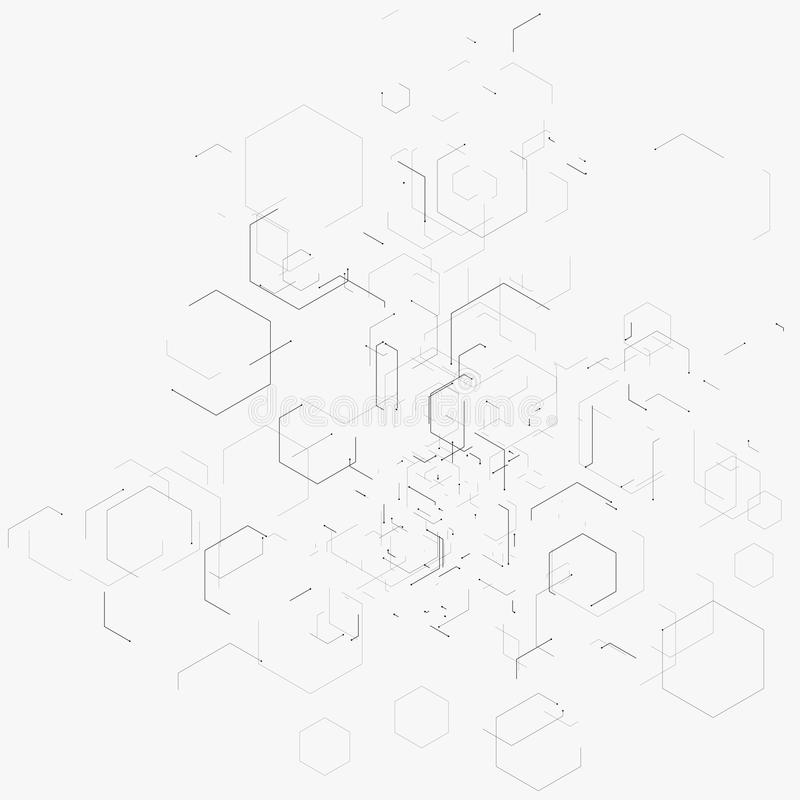 Abstract vector illustration with hexagons, lines and dots on white background. Hexagon infographic. Digital technology concept. royalty free illustration