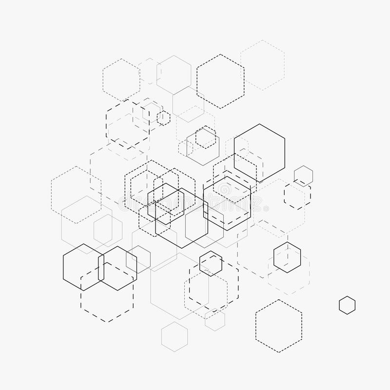 Abstract vector illustration with hexagons and lines on white background. Hexagon infographic. Digital technology, science concept royalty free illustration