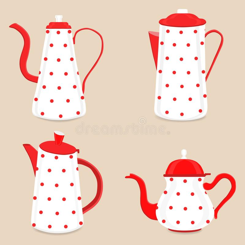 Abstract vector illustration logo for ceramic teapot, kettle on. Background. Teapot pattern consisting of glass kettles with handle, lid, spout for draining royalty free illustration