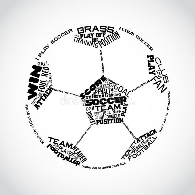 Abstract vector illustration of soccer ball with football words royalty free stock photo