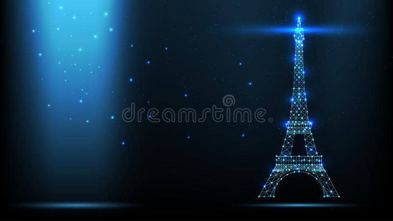 Abstract vector Illustration wireframe telecommunications signal transmitter, france radio antenna eiffel tower from lines and stock illustration