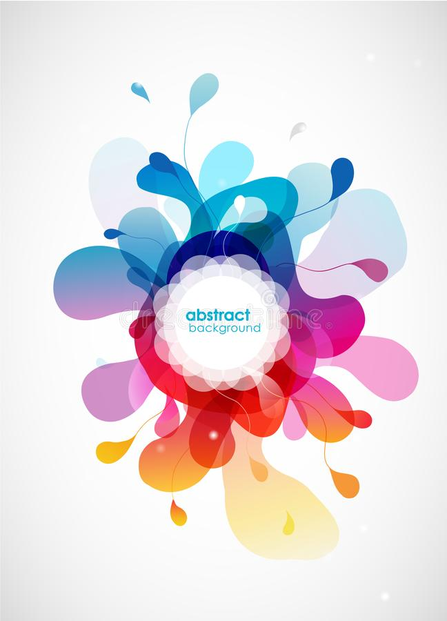 Free Abstract Vector Illustration With Colorful Half Transparent Flower Petals. Also White Circle For Your Own Text Royalty Free Stock Images - 134713839