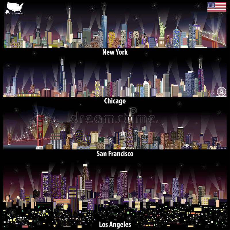 Abstract vector illustrations of United States city skylines New York, Chicago, San Francisco and Los Angeles at night with map royalty free illustration