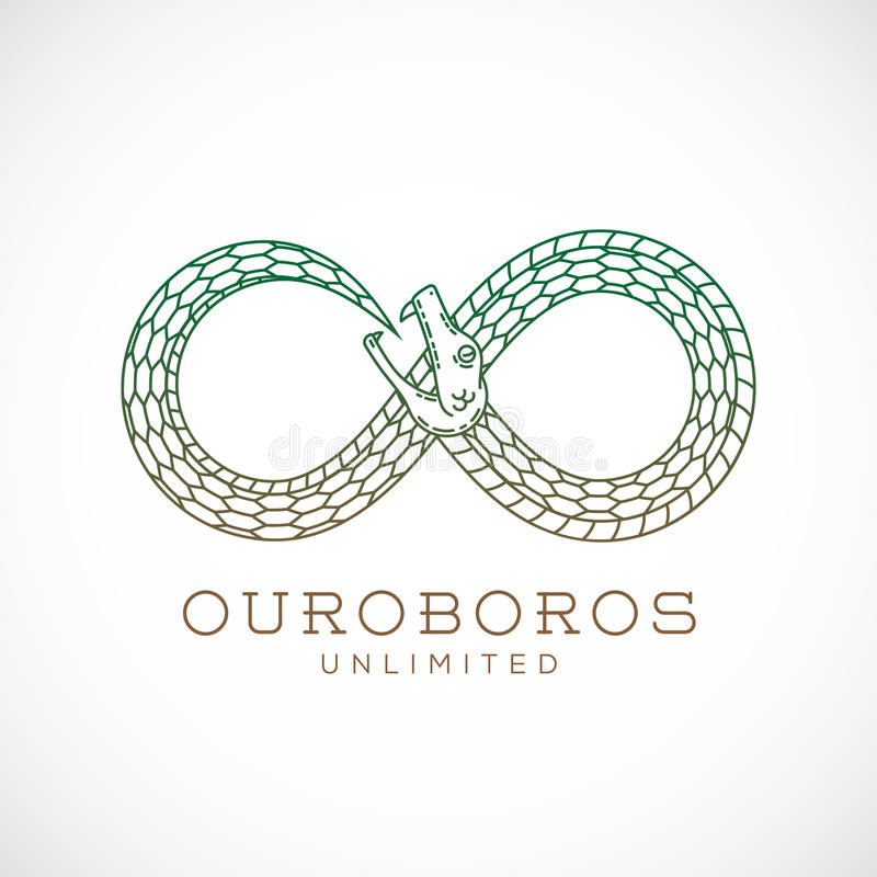 Abstract Vector Infinite Ouroboros Snake Symbol royalty free illustration