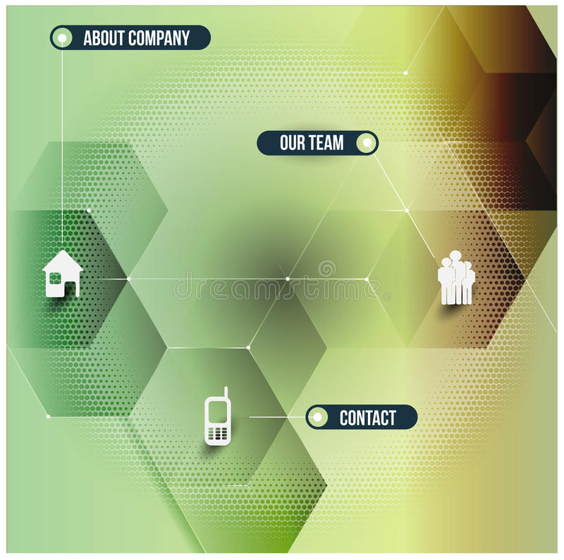 Abstract vector infographic design with cubes and corporate icon royalty free illustration