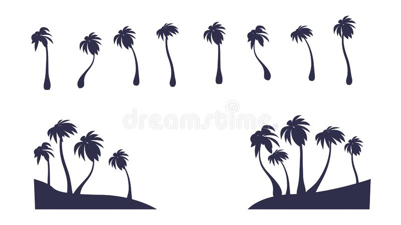 Abstract Vector Isolated Palm Silhouette. Tropic Tree Clipart stock illustration