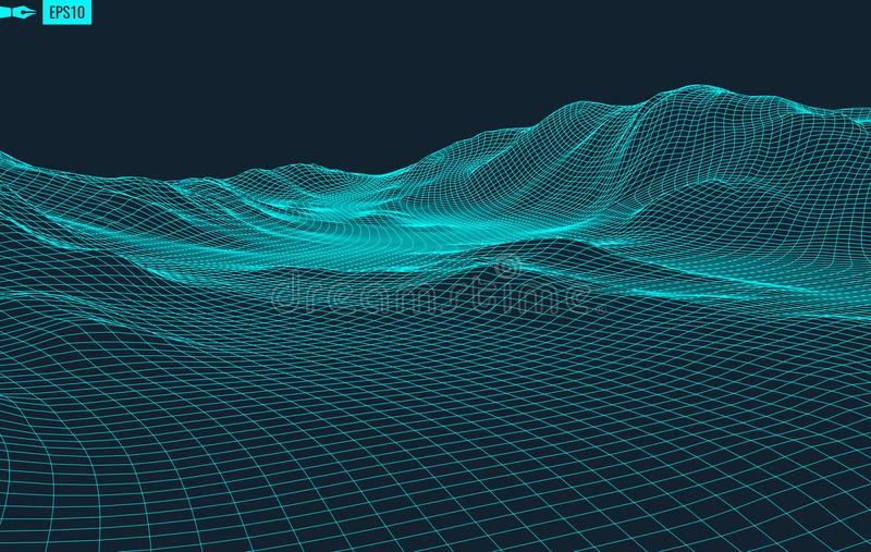 Abstract vector landscape background. Cyberspace grid. 3d technology vector illustration. Abstract vector landscape background. Cyberspace grid. 3d technology stock illustration