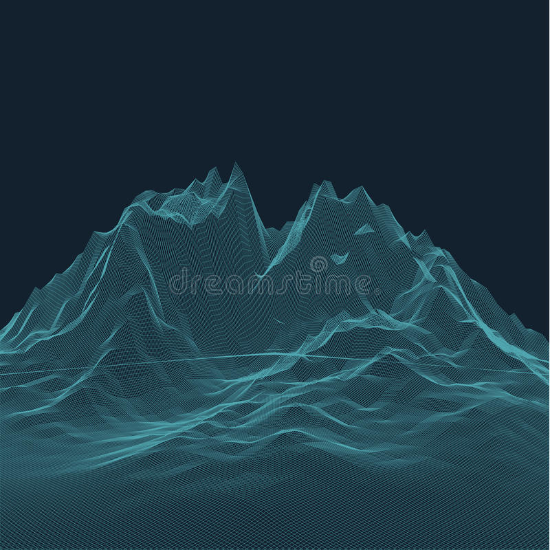 Abstract vector landscape background. Cyberspace view. Cyberpunk hud elements. Abstract vector landscape background. Topographic attitude relief grid. Lowpoly stock illustration