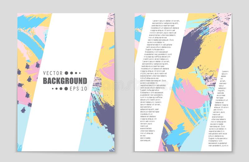 Abstract vector layout background set. For art template design, list, front page, mockup brochure theme style, banner. Idea, cover, booklet, print, flyer, book royalty free illustration
