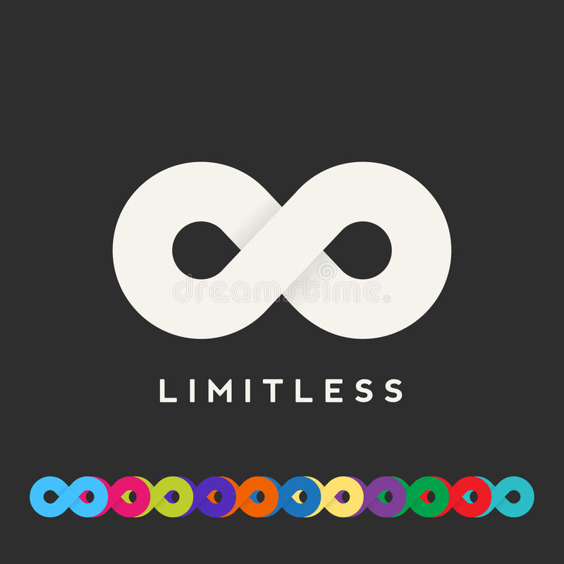 Abstract Vector Limitless Symbol, Icon or a Logo. Template. Lots of Different Color Variations. Soft Realistic Shadows. Sign on a Dark Background vector illustration