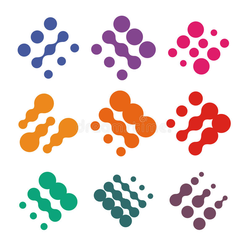 Abstract vector logo set from dots. Colorful technology nano chip logotype collection. stock illustration