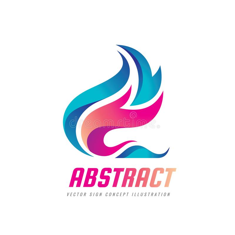 Abstract vector logo template concept illustration. Blue water waves and red fire flames. Nature energy design element.  royalty free illustration