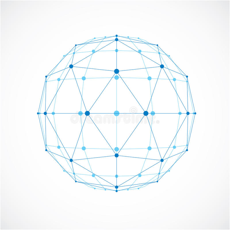 Abstract vector low poly object with black lines and dots connected. Blue 3d futuristic ball with overlapping lines mesh and geom. Etric figures royalty free illustration