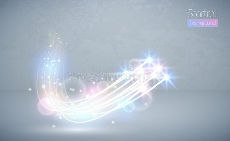 Abstract vector magic white glow star light effect with neon blur curved lines. Sparkling dust star trail lens flare with bokeh. Special blue and pink stock illustration