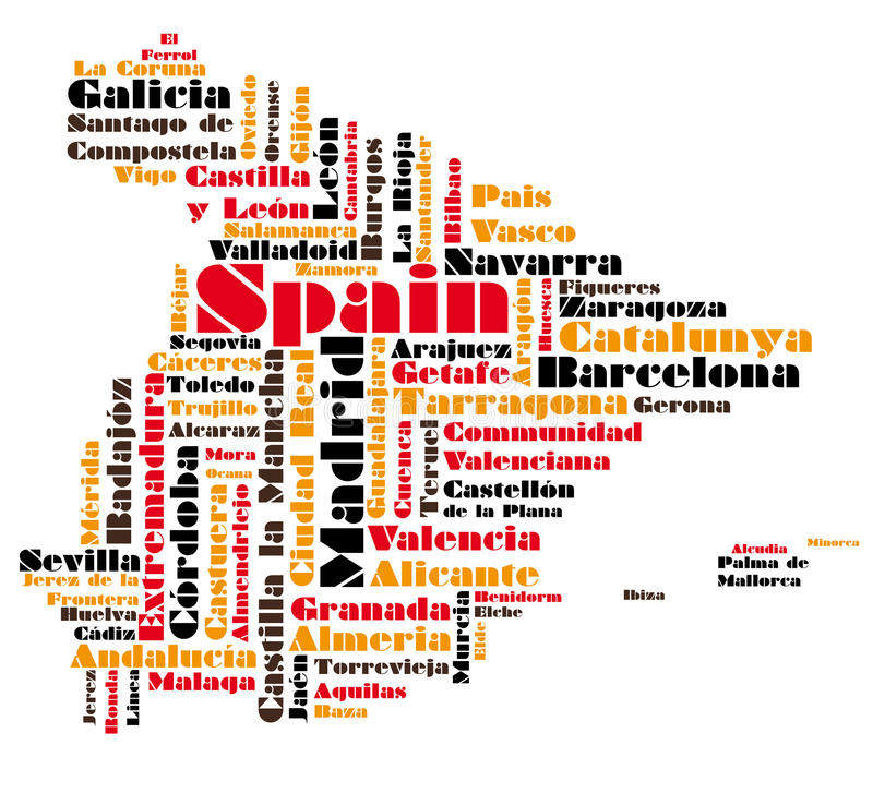 Download Abstract Vector Map Of Spain Stock Illustration - Image: 18440514