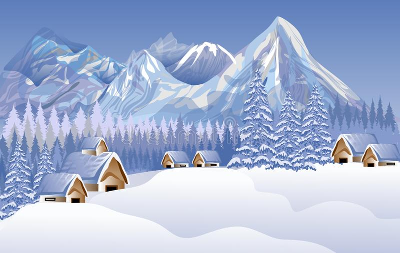 Abstract vector merry Christmas landscape. House, snow. background wallpaper. Many uses for advertising, book page, paintings, printing, mobile backgrounds