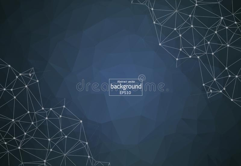 Abstract vector mesh background. Chaotically connected points and polygons flying in space. Futuristic technology style. Elegant b. Ackground for business vector illustration