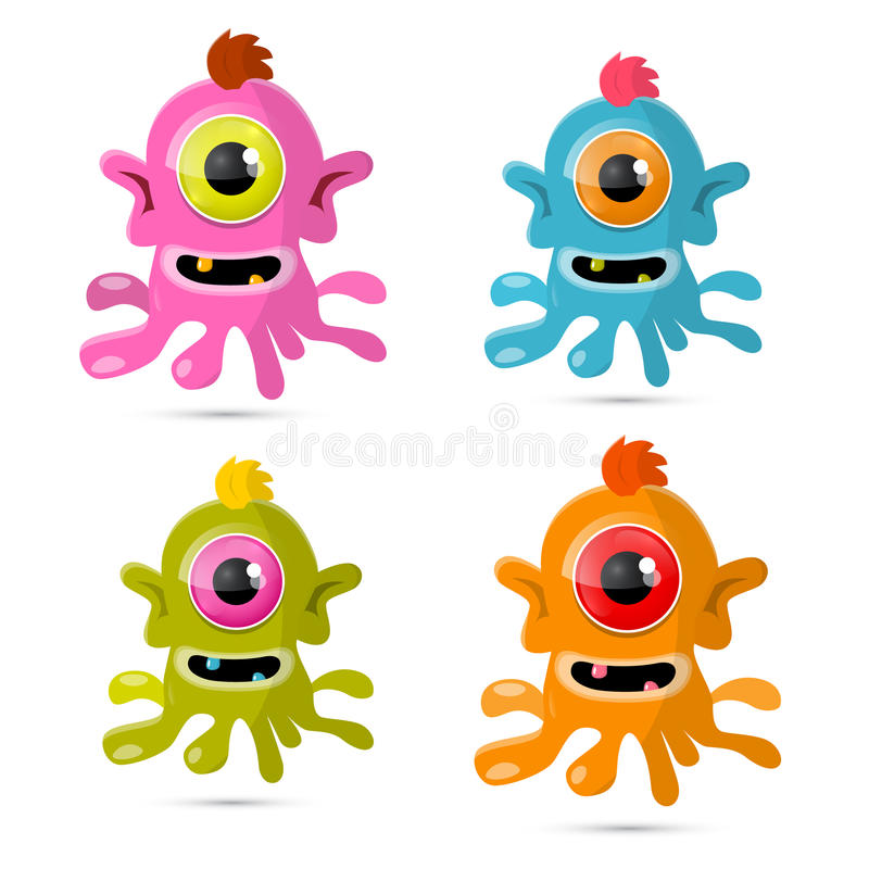 Abstract Vector Monsters - Aliens Set royalty free illustration