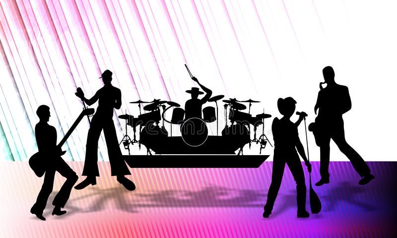 Musical group. Abstract vector musical group presenting a program on stage, vector illustration. many uses for paintings,printing,mobile backgrounds, posters