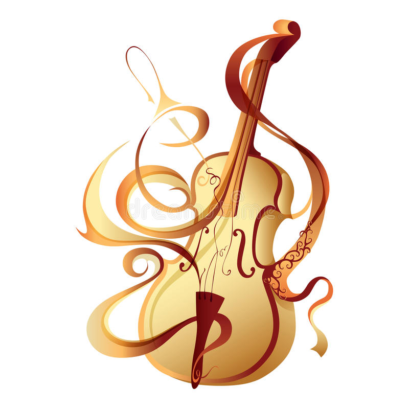 Abstract vector musical instrument gold violin royalty free illustration