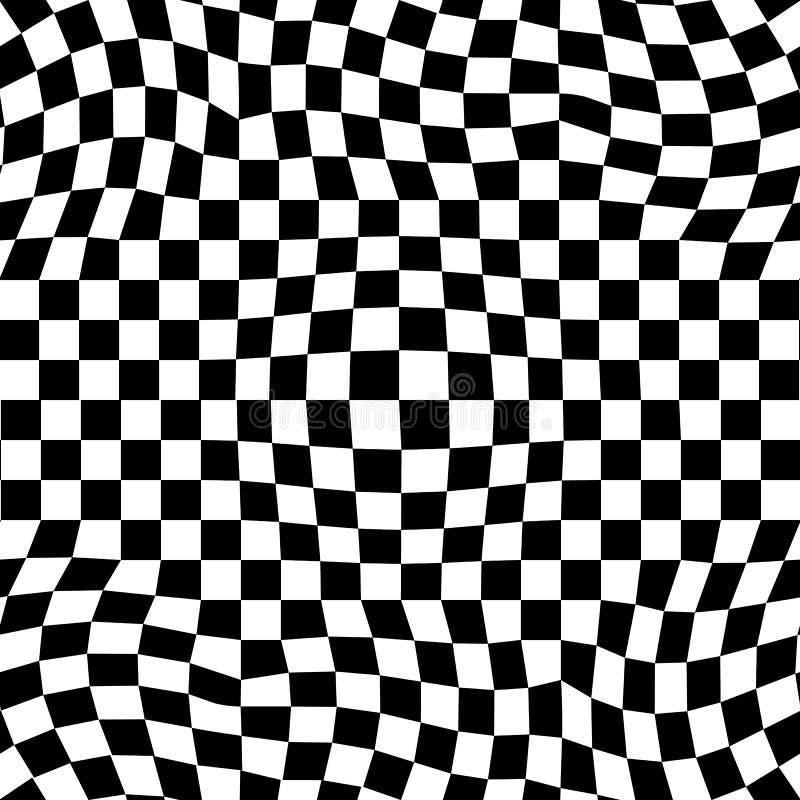 Abstract vector naadloos moirépatroon met schaakbord vector illustratie