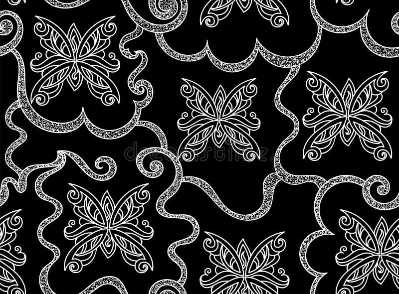 Abstract vector naadloos patroon met voorgestelde vlinders en mooie krullende ornamenten stock illustratie