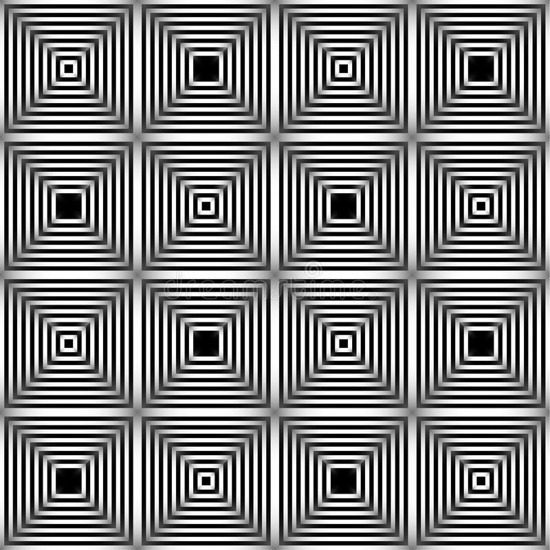 Abstract vector naadloos patroon Zwart-wit grafisch zwart-wit ornament Het gestreepte optische illusie herhalen stock illustratie