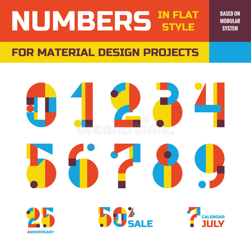 Abstract vector numbers in flat style design for material design creative projects. Geometric numbers symbols. Decorative figures. royalty free illustration