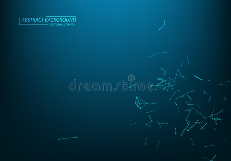 Abstract vector particles and lines. Plexus effect. Futuristic illustration. Polygonal Cyber Structure. Data Connection Concept vector illustration