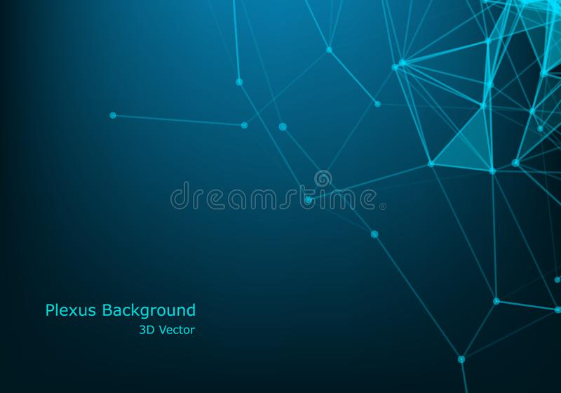 Abstract vector particles and lines. Plexus effect. Futuristic illustration. Polygonal Cyber Structure. Data Connection Concept.  royalty free illustration