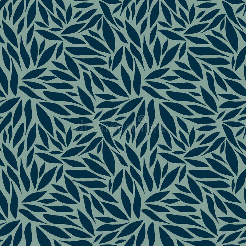 Abstract vector pattern with dark blue leaves stock image