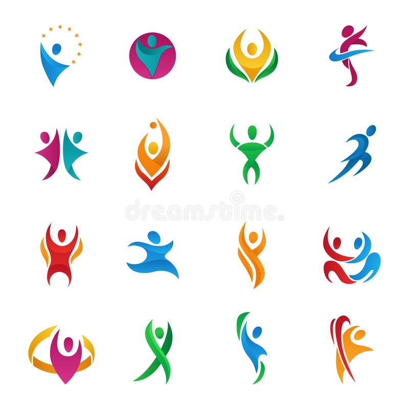 Abstract vector people silhouette teams and groups human figure shapes logo icons concept design graphic characters set stock illustration