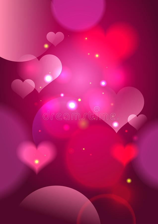 Abstract vector pink background with hearts and lights. Copy space for text royalty free illustration