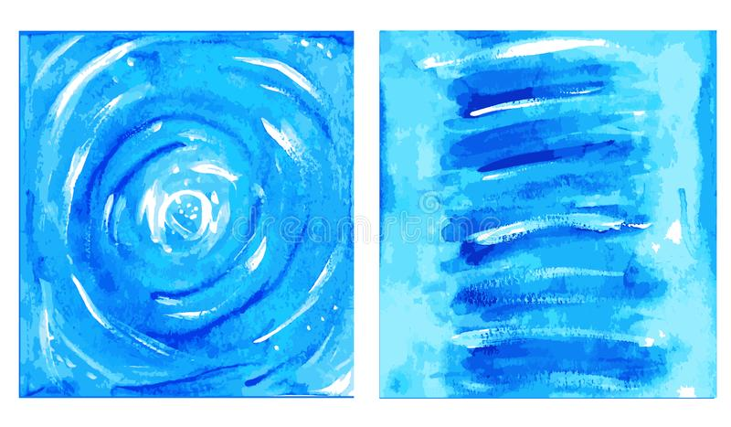 Abstract vector printable set of interior painting picture.Blue indigo art print. stock photo