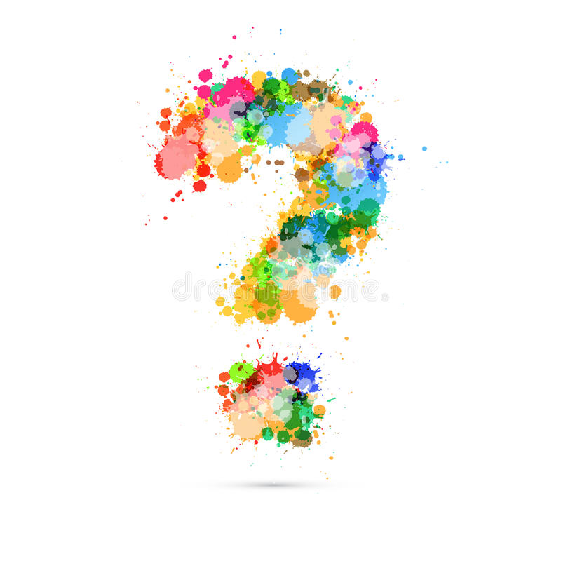 Abstract Vector Question Mark Colorful Symbol. Made from Splashes, Blots, Stains vector illustration