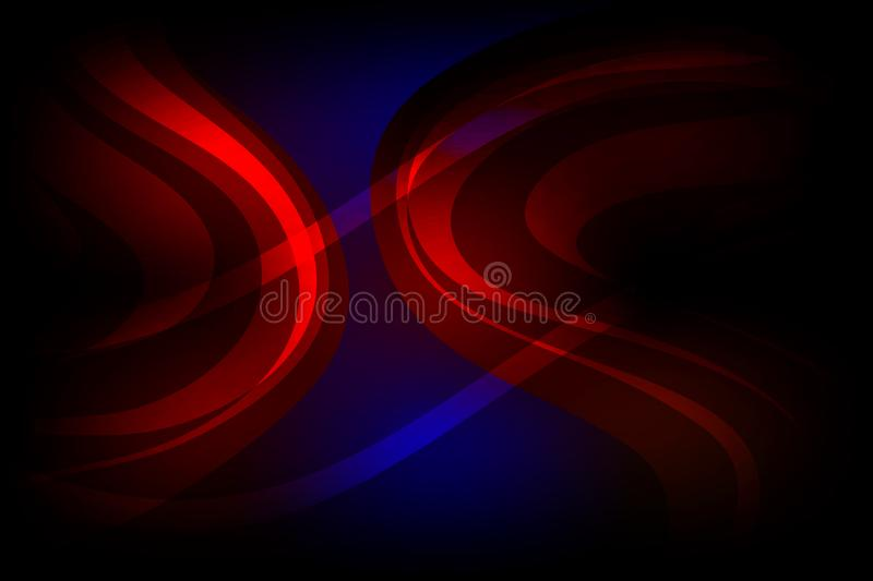 Abstract vector red and blue wavy shaded background with lighting effects, vector illustration royalty free illustration