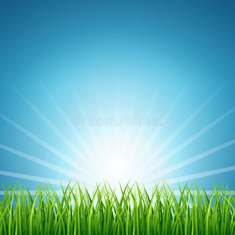 Free Abstract Vector Rising Sun Over Green Grass Background Royalty Free Stock Photo - 83987765