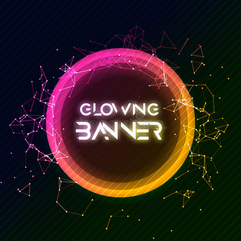 Abstract vector round banner. Glowing circle shining shape. Creative banner design vector illustration