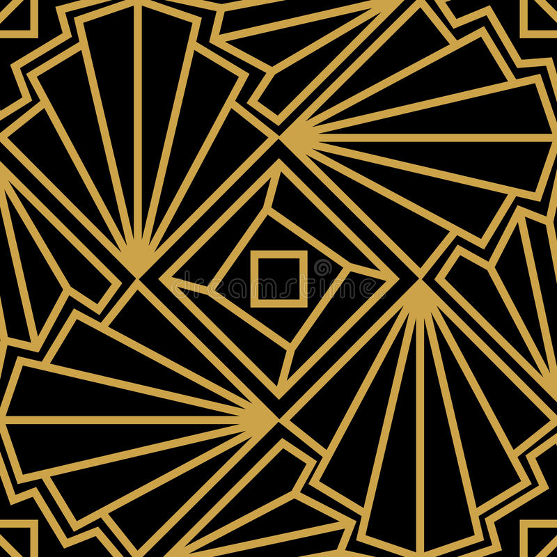 Abstract vector seamless Art Deco pattern with stylized shell. Golden ornament on black background stock illustration