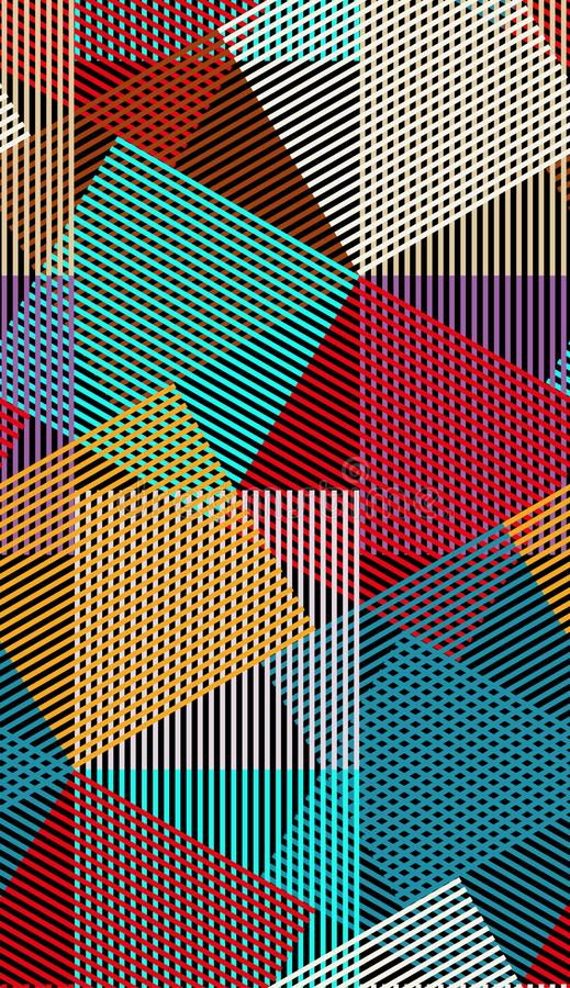 Abstract vector seamless moire pattern with cubic lattice lines. Colorful graphic ornament vector illustration
