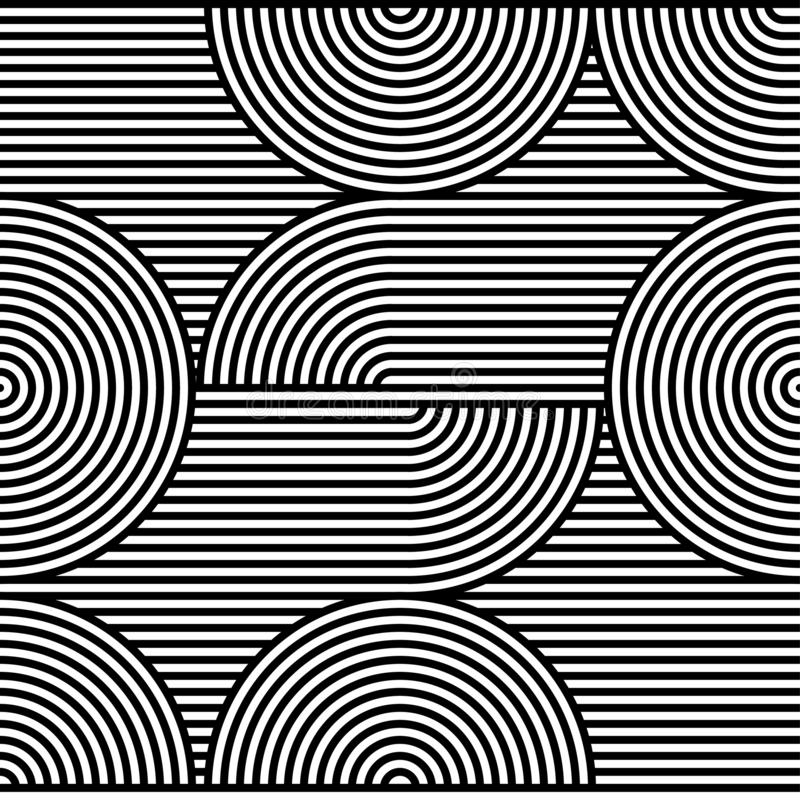 Abstract vector seamless op art pattern. Black and white pop art, graphic ornament. Optical illusion.  royalty free illustration