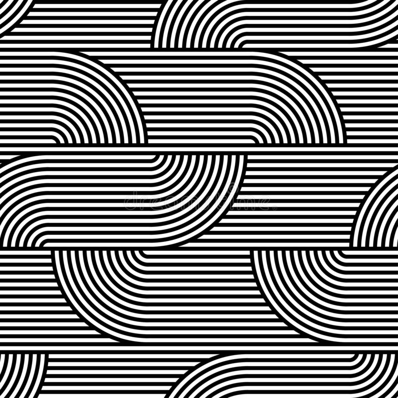 Abstract vector seamless op art pattern. Black and white pop art, graphic ornament. Optical illusion vector illustration
