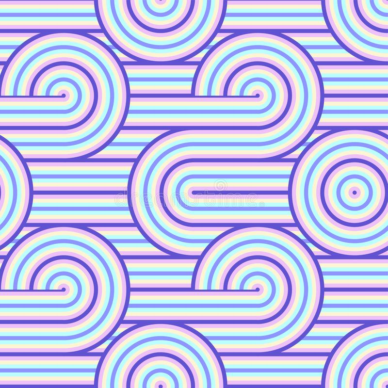 Abstract vector seamless op art pattern. Colorful pop art, graphic ornament. Optical illusion 70s. vector illustration