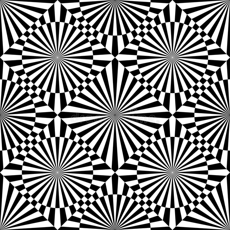 Abstract vector seamless op art pattern. Monochrome graphic black and white ornament. Striped optical illusion repeating texture.  stock illustration